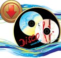 Two music disk. Sticker with button Royalty Free Stock Photography