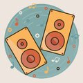 Two music speakers. Notes fly around them. Flat style, bold stroke, muted colors Royalty Free Stock Photo