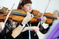 Two musicians playing violins Royalty Free Stock Photo