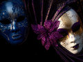 Two mysterious venetian mask set on a black background Stock Photography
