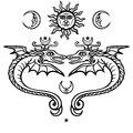 Two mystical winged snakes. Alchemical symbols. Religion, mysticism, occultism, sorcery.