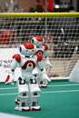 Two Nao Robots from the Robocup 2009 Royalty Free Stock Photo