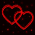 Two neon vector hearts. Abstract background Stock Photography