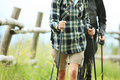 Two nordic walkers close up of outdoors Royalty Free Stock Images