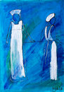 Two nurses in white painting in acrylic by Kay Ga Stock Photography