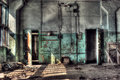 Two old doors abandoned factory room with hdr image Royalty Free Stock Photo