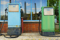 Two old fuel pumps filling station warsaw poland Stock Photo