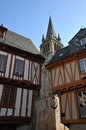 Two old half timbered houses church inside vannes streets blue sky Royalty Free Stock Image