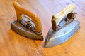 Two old irons Royalty Free Stock Photo