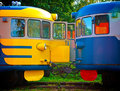 Two old locomotive parked on railroad tracks Royalty Free Stock Photo