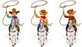 Two old and one young cowboys illustration of the on a white background Stock Images