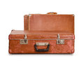 Two old suitcases it is isolated on a white background Stock Image
