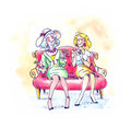 Two older females seating and talking Royalty Free Stock Images