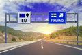 Two options EU and Finland on road signs on highway Royalty Free Stock Photo