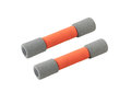 Two of orange dumbbells Royalty Free Stock Image