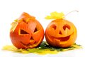 Two orange halloween pumpkins Jack O Lanterns Stock Photo