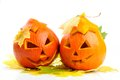Two orange halloween pumpkins Jack O Lanterns Stock Photography