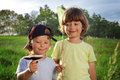 Two other children walking rural with mushroom net Stock Photography