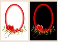 Two oval frames with hearts one frame on white background another on black Stock Photos