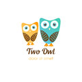 Two owl logos in flat style. Vector logotype for shop, entertaiment, education company, school, kindergarden, library and other Royalty Free Stock Photo