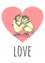 Two owls in love hand drawn with a pink heart on the background with a word love