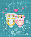 Two owls in love romantic valentine s card with couple of heart flowers and other cute decorations vector file is eps all elements Stock Images