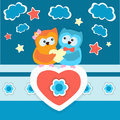 Two owls in love vector background with Stock Photo