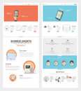 Two page website design template with concept icons and avatars for business company portfolio Stock Photography