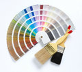 Two paint brush and color chart Royalty Free Stock Photos