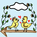 Two painted birds drawn by hand illustration of on wooden arrow next to flowers Stock Image