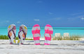 Two pairs of flip flops against atlantic exuma bahamas Royalty Free Stock Photos