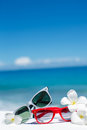 Two pairs of sunglasses on background of ocean Royalty Free Stock Photo
