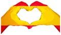 Two palms make heart shape. Spanish flag