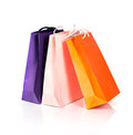Two paper shopping bags on white with reflection Royalty Free Stock Image