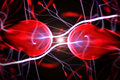 Two particles ready to collide Royalty Free Stock Images