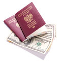 Two passports american dollars money Stock Photography