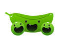 Peas cartoon character bright juicy on a white background