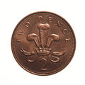 Two pence coin pound currency of the united kingdom isolated over white background Royalty Free Stock Photos