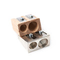 Two pencil sharpeners isolated Royalty Free Stock Photo