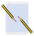 Two pencils laying on paper sheet Royalty Free Stock Images