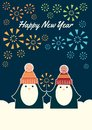Two penguins happy new year