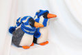 Two penguins toy in knitted hat and scarf on the background of white fabric imitating polar snow drifts Royalty Free Stock Image