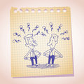 Two penniless businessman note paper cartoon sketch a lot of these days Royalty Free Stock Photos