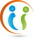 Two people and circle, people and couple logo