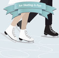 Two people ice skating a man and a woman together in winter with a view of their legs with a ribbon banner with the text is fun Stock Image