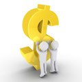 Two people raising a dollar symbol d persons are big Royalty Free Stock Image