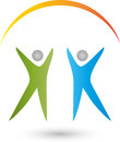 Two people and sun, fitness and health logo