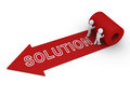 Two people unroll carpet of solution d persons arrow with word on it Stock Photo