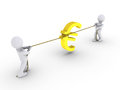 Two persons pulling rope with euro sign Royalty Free Stock Photo