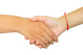 Two persons shaking hands on white background this is Stock Photos